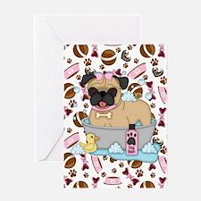 Pug Dog Bath Time Greeting Cards