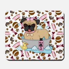 Pug Dog Bath Time Mousepad