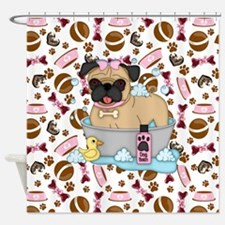 Pug Dog Bath Time Shower Curtain