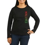 Maldives Stamp Women's Long Sleeve Dark T-Shirt