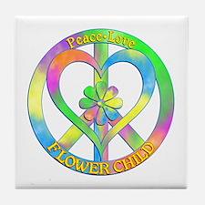 Peace Love Flower Child Tile Coaster