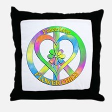 Peace Love Flower Child Throw Pillow