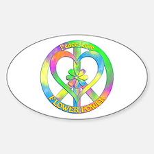 Peace Love Flower Power Sticker (Oval)