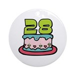 28th Birthday Cake Ornament (Round)