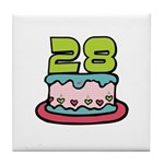 28th Birthday Cake Tile Coaster
