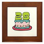28th Birthday Cake Framed Tile