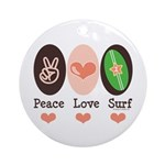 Surfing Peace Love Surf Surfboard Ornament (Round)