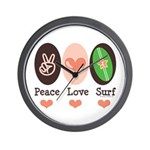 Surfing Peace Love Surf Surfboard Wall Clock