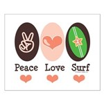 Surfing Peace Love Surf Surfboard Small Poster