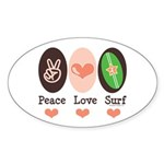 Surfing Peace Love Surf Surfboard Oval Sticker