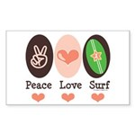 Surfing Peace Love Surf Surfboard Sticker (Rectang