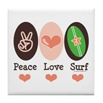 Surfing Peace Love Surf Surfboard Tile Coaster