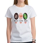 Surfing Peace Love Surf Surfboard Women's T-Shirt