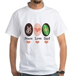 Surfing Peace Love Surf Surfboard White T-Shirt
