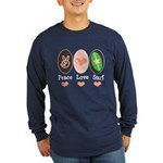 Surfing Peace Love Surf Surfboard Long Sleeve Dark