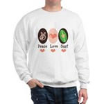 Surfing Peace Love Surf Surfboard Sweatshirt