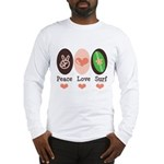 Surfing Peace Love Surf Surfboard Long Sleeve T-Sh
