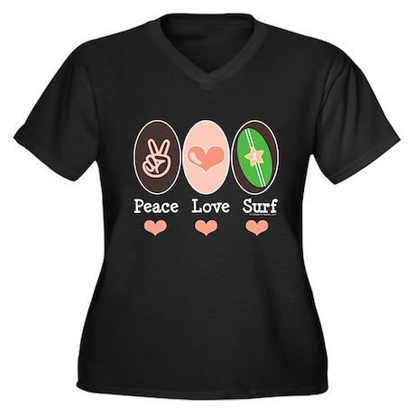 Surfing Peace Love Surf Surfboard Women's Plus Siz