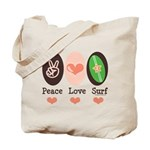 Surfing Peace Love Surf Surfboard Tote Bag