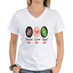 Surfing Peace Love Surf Surfboard Women's V-Neck T