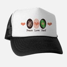 Surfing Peace Love Surf Surfboard Trucker Hat