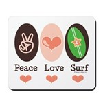 Surfing Peace Love Surf Surfboard Mousepad