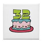 32nd Birthday Cake Tile Coaster
