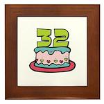 32nd Birthday Cake Framed Tile