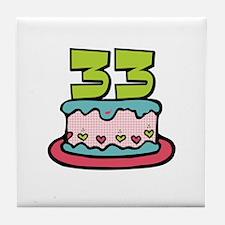 33rd Birthday Cake Tile Coaster