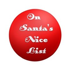 "Santa's Nice List in Red 3.5"" Button"