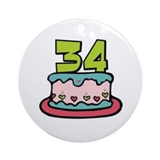 34th Birthday Cake Ornament (Round)