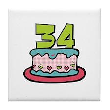 34th Birthday Cake Tile Coaster