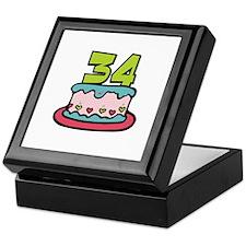 34th Birthday Cake Keepsake Box
