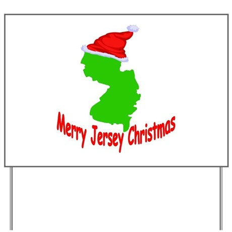 Merry Jersey Christmas Yard Sign