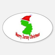 Merry Jersey Christmas Oval Decal