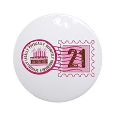 Birthday Stamp 21 Ornament (Round)