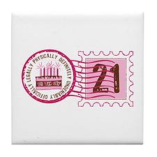 Birthday Stamp 21 Tile Coaster