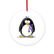 Purple Ribbon Penguin Ornament (Round)