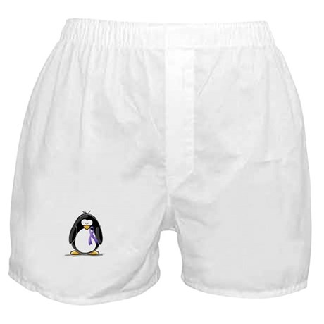 Purple Ribbon Penguin Boxer Shorts