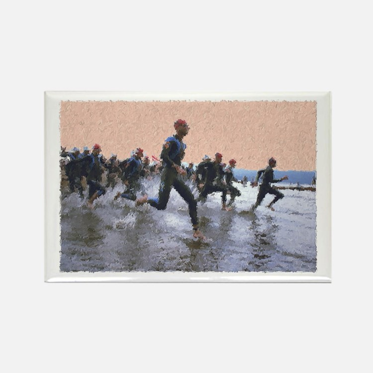 TRIATHLON SWIM START Rectangle Magnet