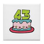 43 Birthday Cake Tile Coaster