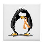 Orange Ribbon Penguin Tile Coaster