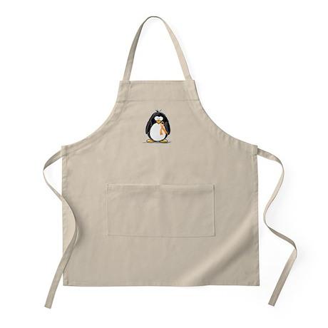 Orange Ribbon Penguin BBQ Apron