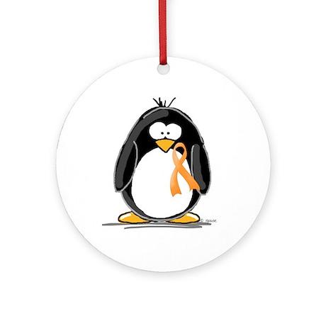 Orange Ribbon Penguin Ornament (Round)