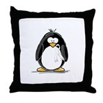 White Ribbon Penguin Throw Pillow