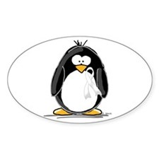 White Ribbon Penguin Oval Decal