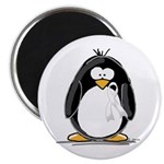 White Ribbon Penguin Magnet