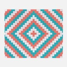 Teal and Coral Design Throw Blanket
