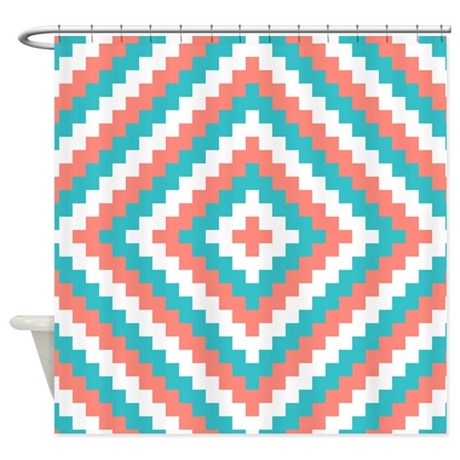 teal and coral design shower curtain by decorativedecor