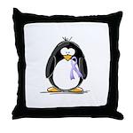 Lavender Ribbon Penguin Throw Pillow